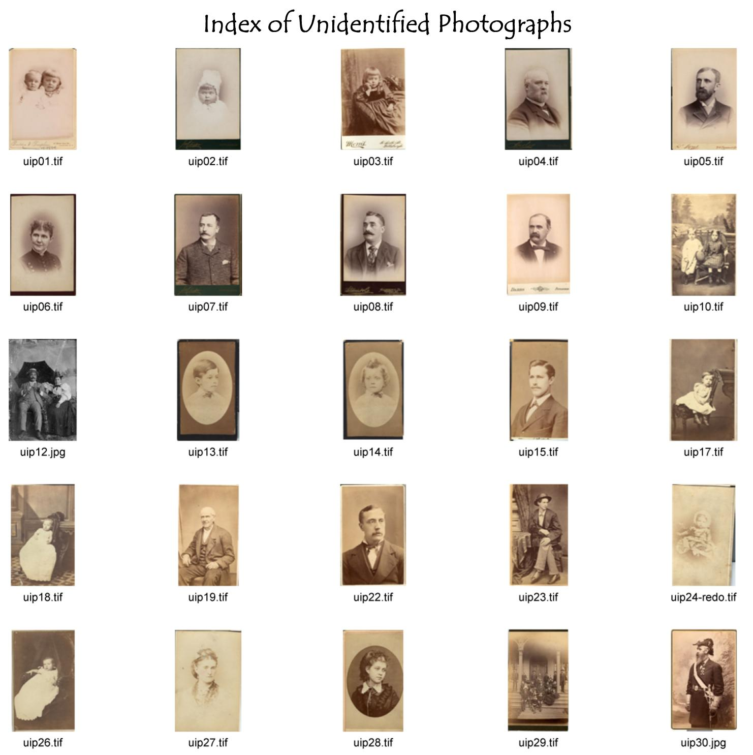 Index of Unidentified Photographs